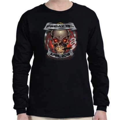 April 2018 Friday the 13th Smokin Skull Long Sleeve Front