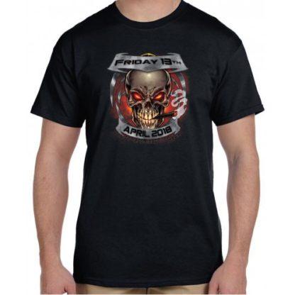 April 2018 Friday the 13th Smokin Skull Shirt Front